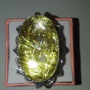 Size 7 golden rutile quartz ring brand new